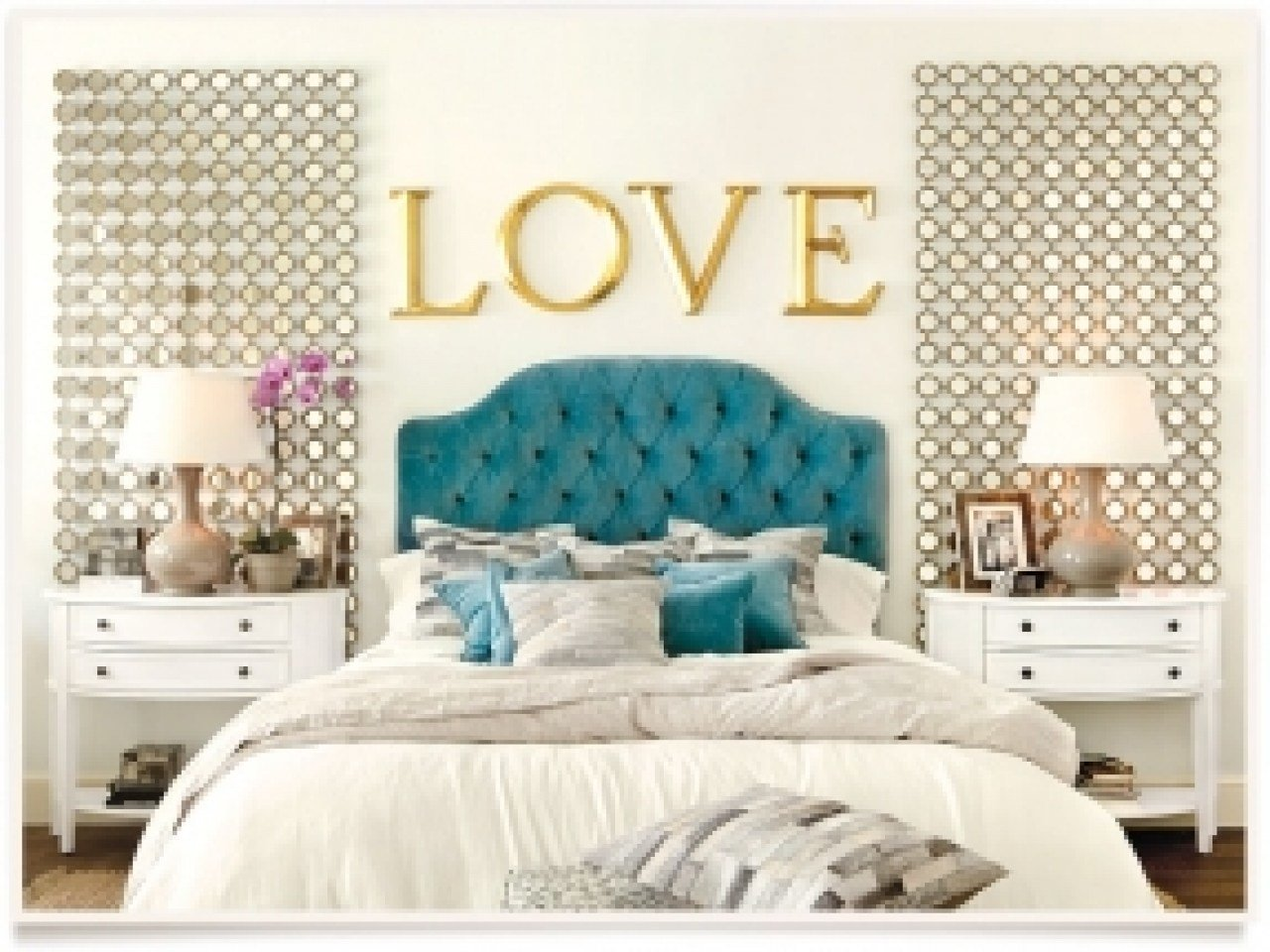 Best Blue Velvet Headboard White Bedding Gold Accents In This With Pictures