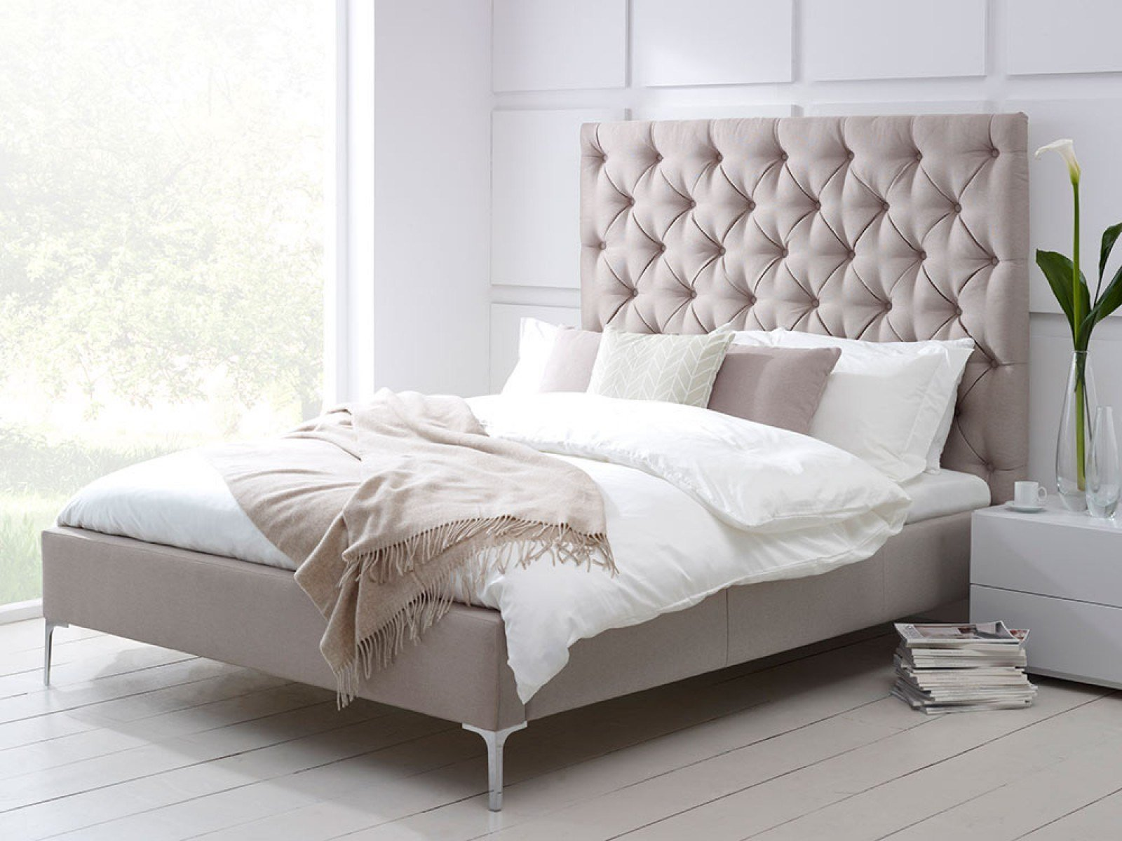 Best Elise Tall Buttoned Headboard Upholstered Bed Living It Up With Pictures