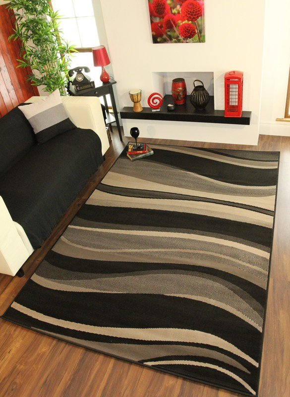 Best Grey Black Cheap Waves Modern Large Small Rug Quality Hall With Pictures
