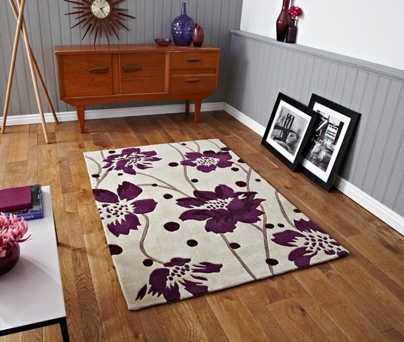 Best Small Modern Bright Cream Purple Runner Rugs Stylish Flower Design Bedroom Mats Ebay With Pictures