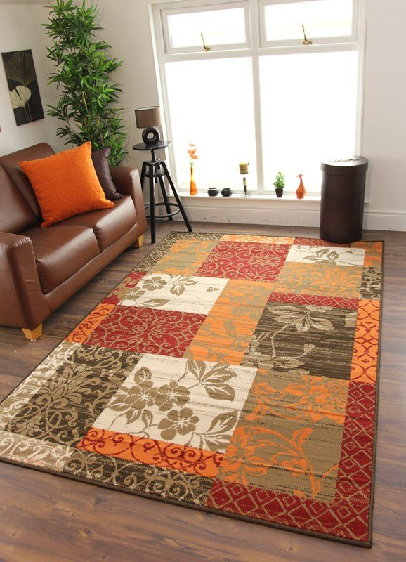 Best Cheap Warm Red Burnt Orange Brown Cream Cosy Patchwork With Pictures