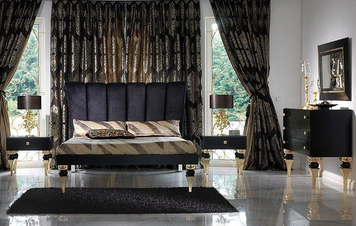 Best Magnus Black And Gold Leaf Bedroom Set Collection With Pictures