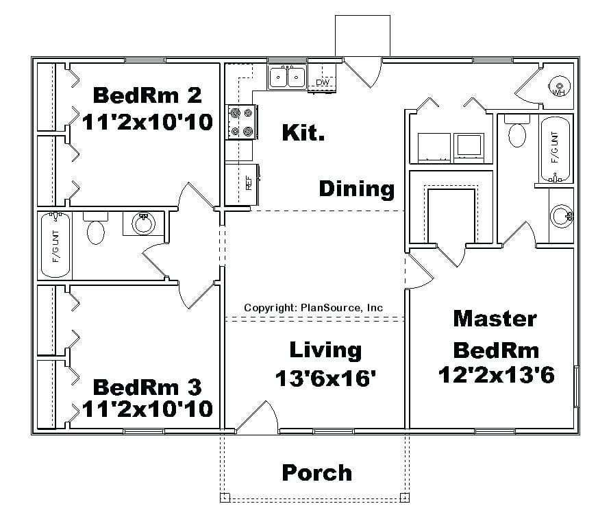 Best Awesome 3 Bedroom House Plans No Garage New Home Plans With Pictures