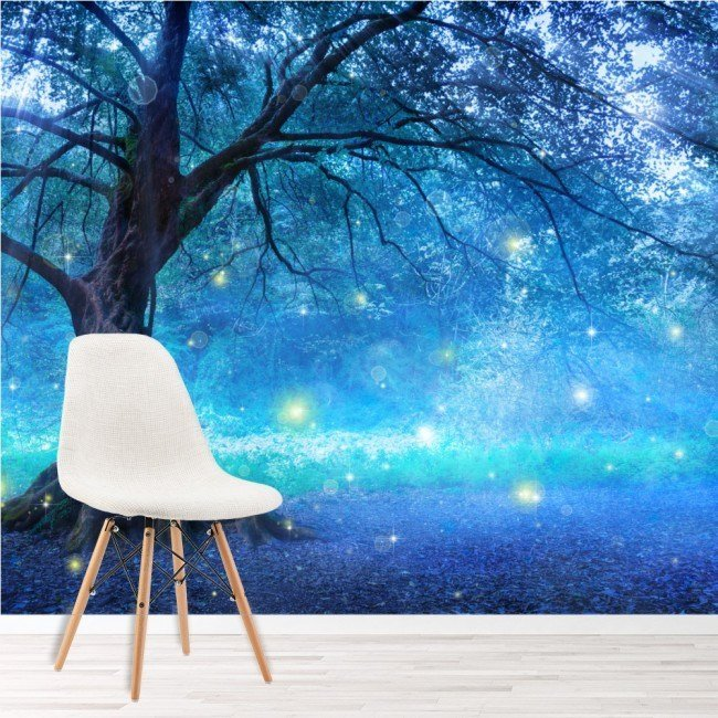 Best Mystical Fairy Tree Blue Enchanted Forest Kids Wall Mural With Pictures