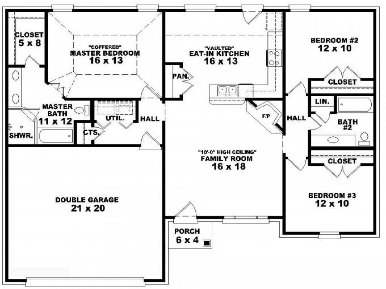 Best 3 Bedroom Ranch Floor Plans 3 Bedroom One Story House With Pictures