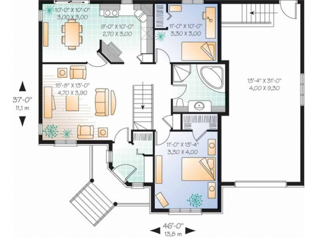 Best 2 Bedroom Single Story House Plans Long Lots Blueprints 3 With Pictures