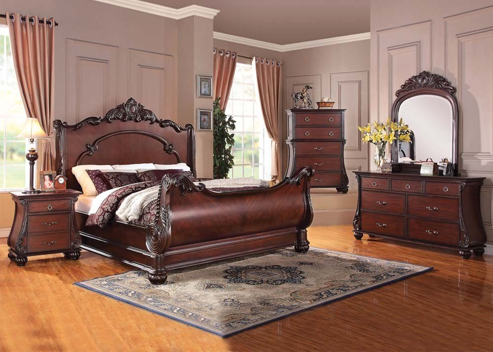 Best Acme Furniture Abramson 4 Pc Sleigh Bedroom Set With Pictures