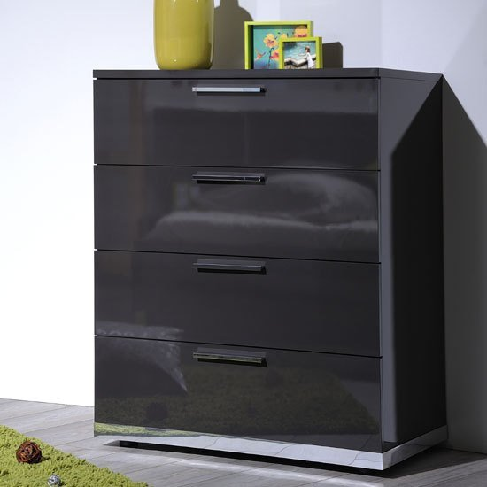 Best Sinatra Grey High Gloss Finish 4 Drawers Chest Of Drawers 22 With Pictures