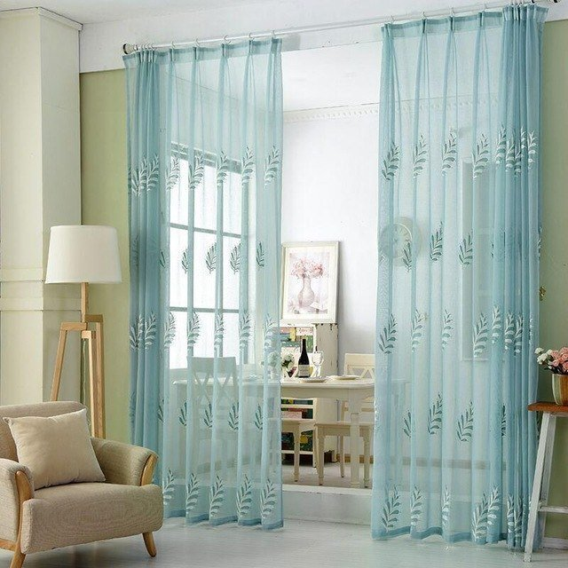 Best And Cheap White Blue Cotton Yarn Curtain Living Room Bedroom Study Curtains For Leaves With Pictures