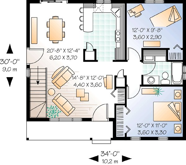 Best 2 Bedroom Ranch With Carport 21040Dr 1St Floor Master 2 Bedroom House Plans With Basement With Pictures