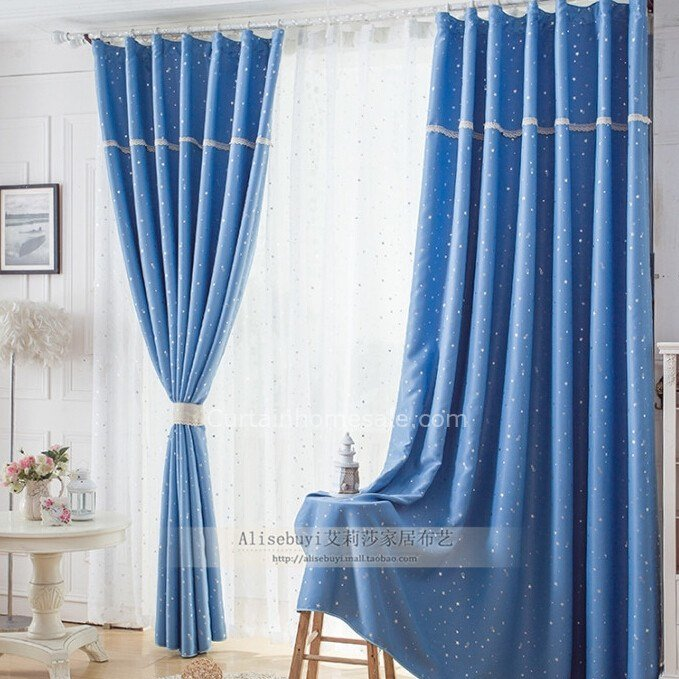 Best Bedroom Light Blue Blackout Curtains For Children With Printing Patterns With Pictures