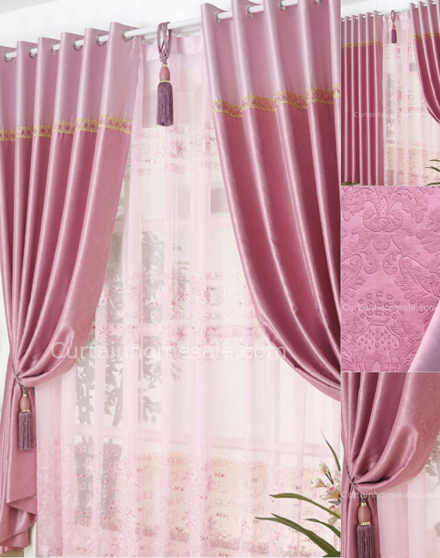 Best Girls Bedroom Lace Curtains In Pink Color Of Flocking Patterns With Pictures