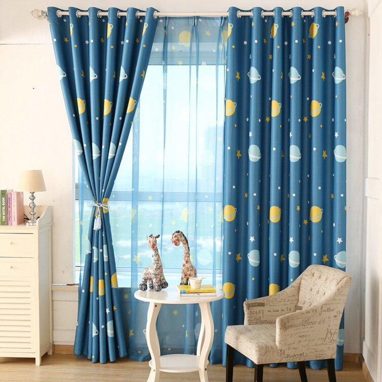 Best Star Printed Blue Universe Style Pattern Curtains For Your Best Boys With Pictures