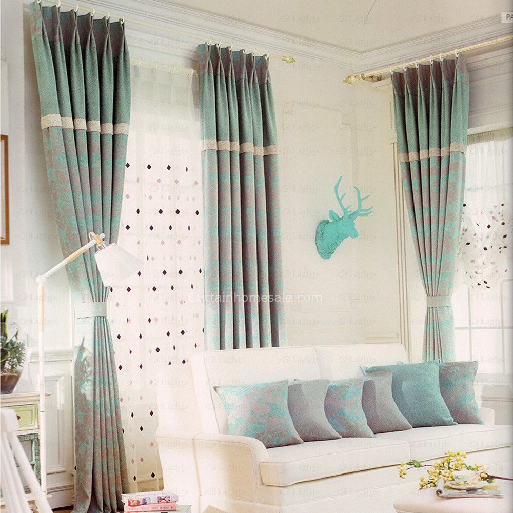 Best 2016 New Arrival Light Blue Linen Cotton Bedroom Curtains With Pictures