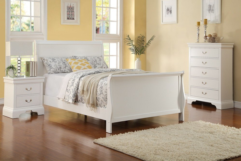 Best 3Pc Full Size White Louis Philippe Bed Chest Night Stand With Pictures
