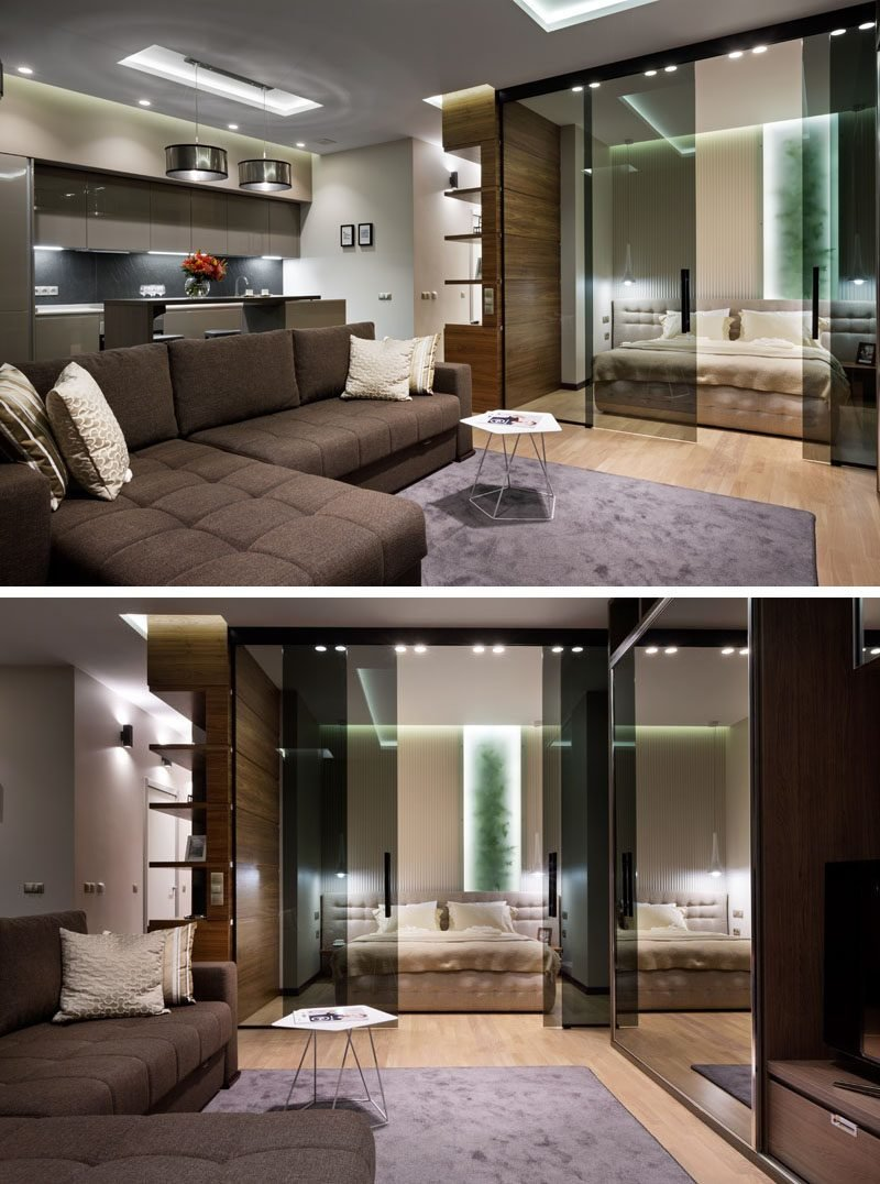 Best Glass Doors Define The Bedroom In This Small Apartment With Pictures