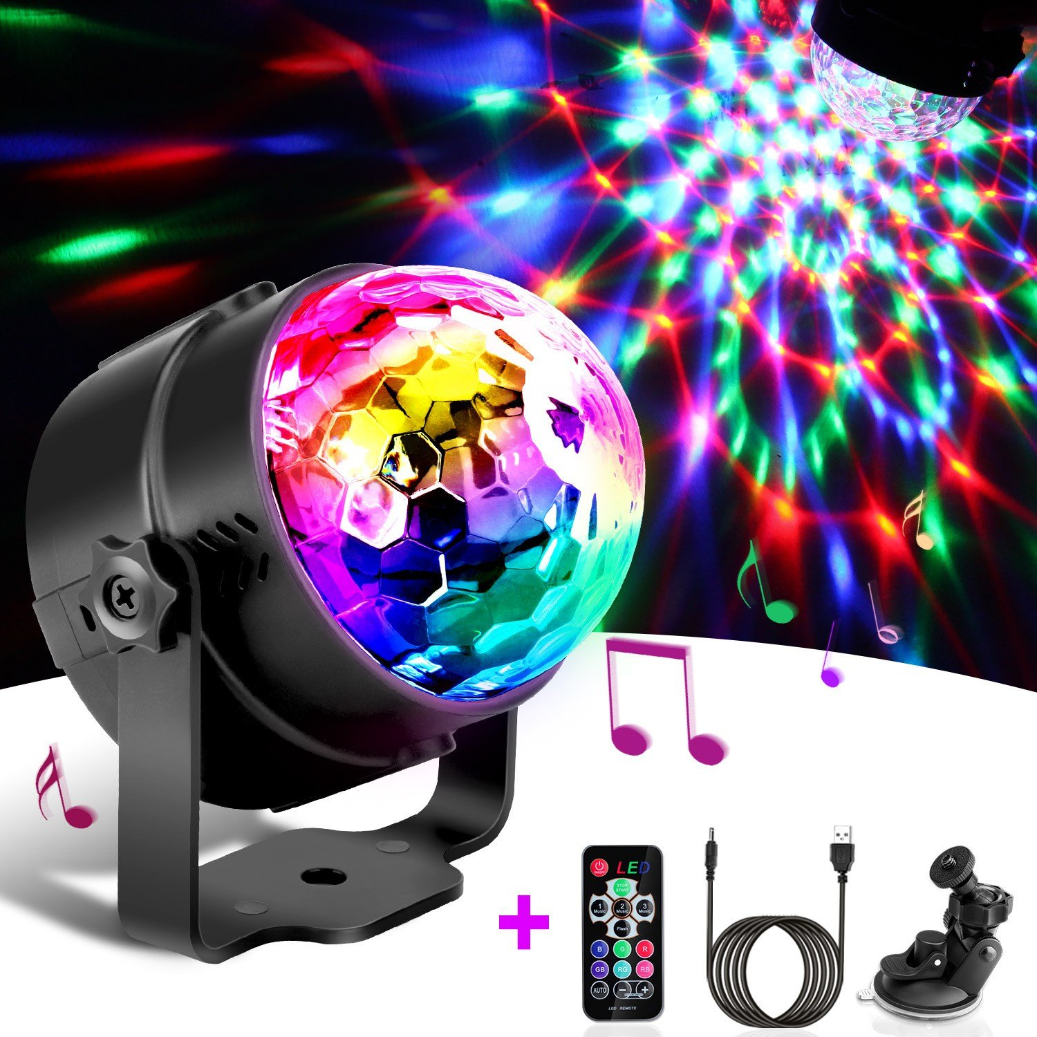 Best Disco Lights Omeril Sound Activated Party Lights With 4M 13Ft Usb Charging Cable 3W Rgb Disco With Pictures