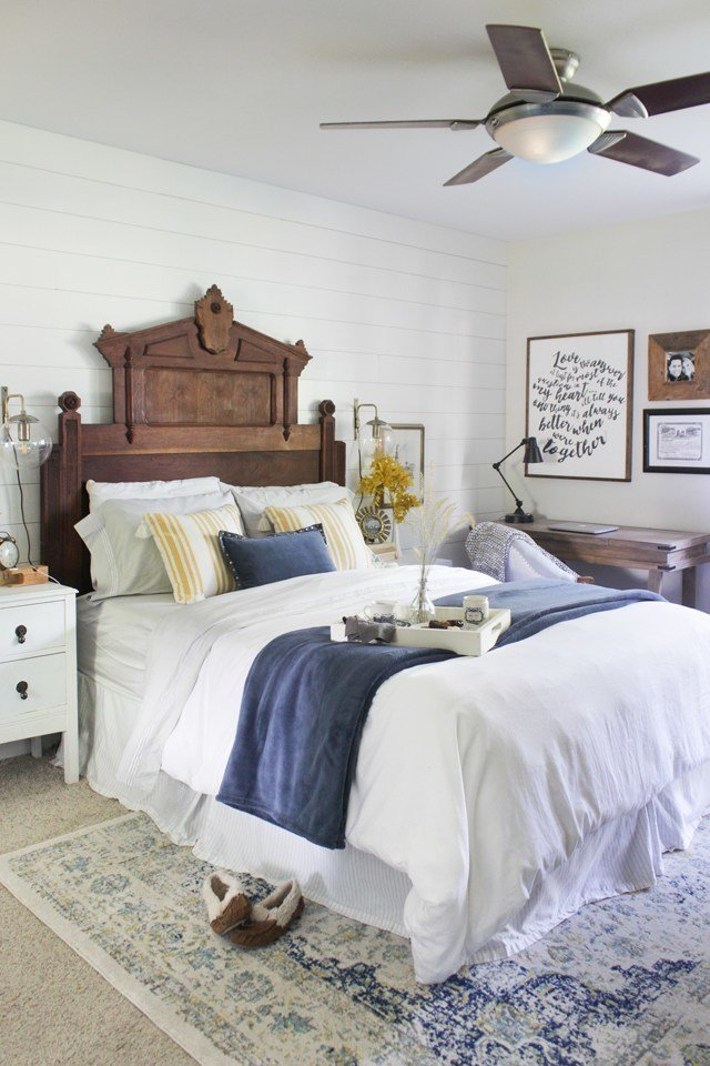 Best Fall Master Bedroom Tour A New Rug Shades Of Blue Interiors With Pictures