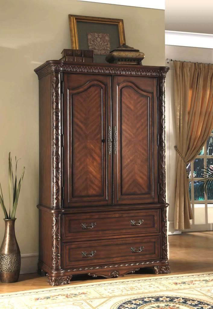 Best King Cherry Sleigh Bed Marble 7 Pc Bedroom Set Armoire Ebay With Pictures