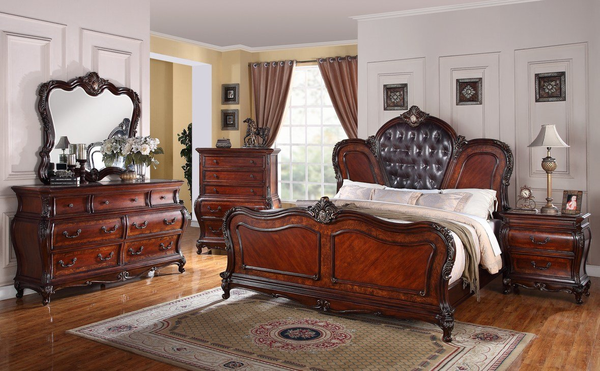 Best King Size Medium Brown Cherry Bedroom Set With Leather With Pictures