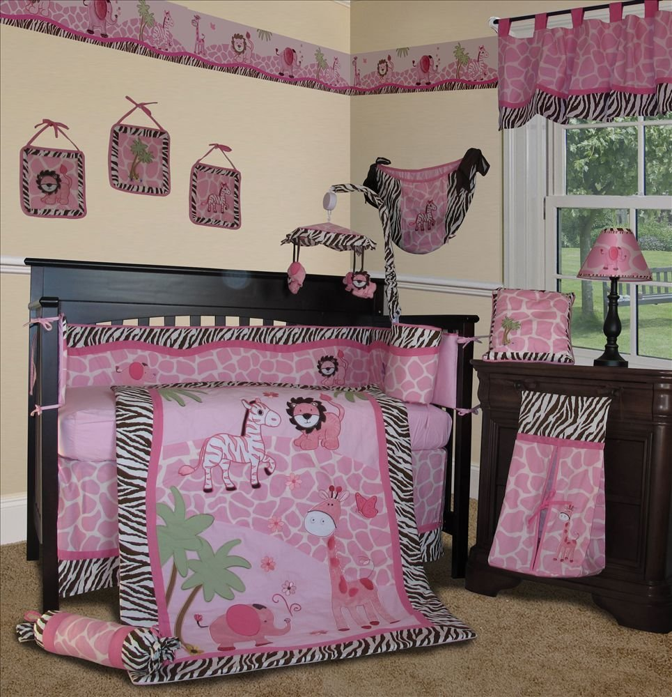 Best Baby Boutique Pink Safari 13 Pcs Girl Nursery Crib With Pictures