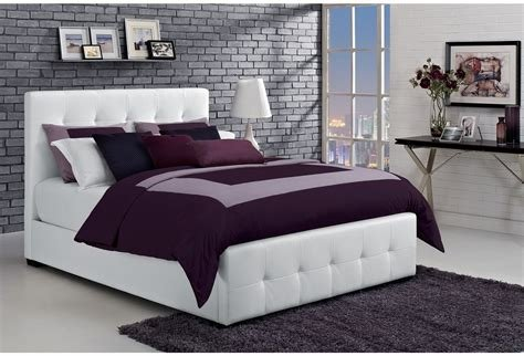 Best Queen Size Bed White Tufted Faux Leather Upholstered With Pictures