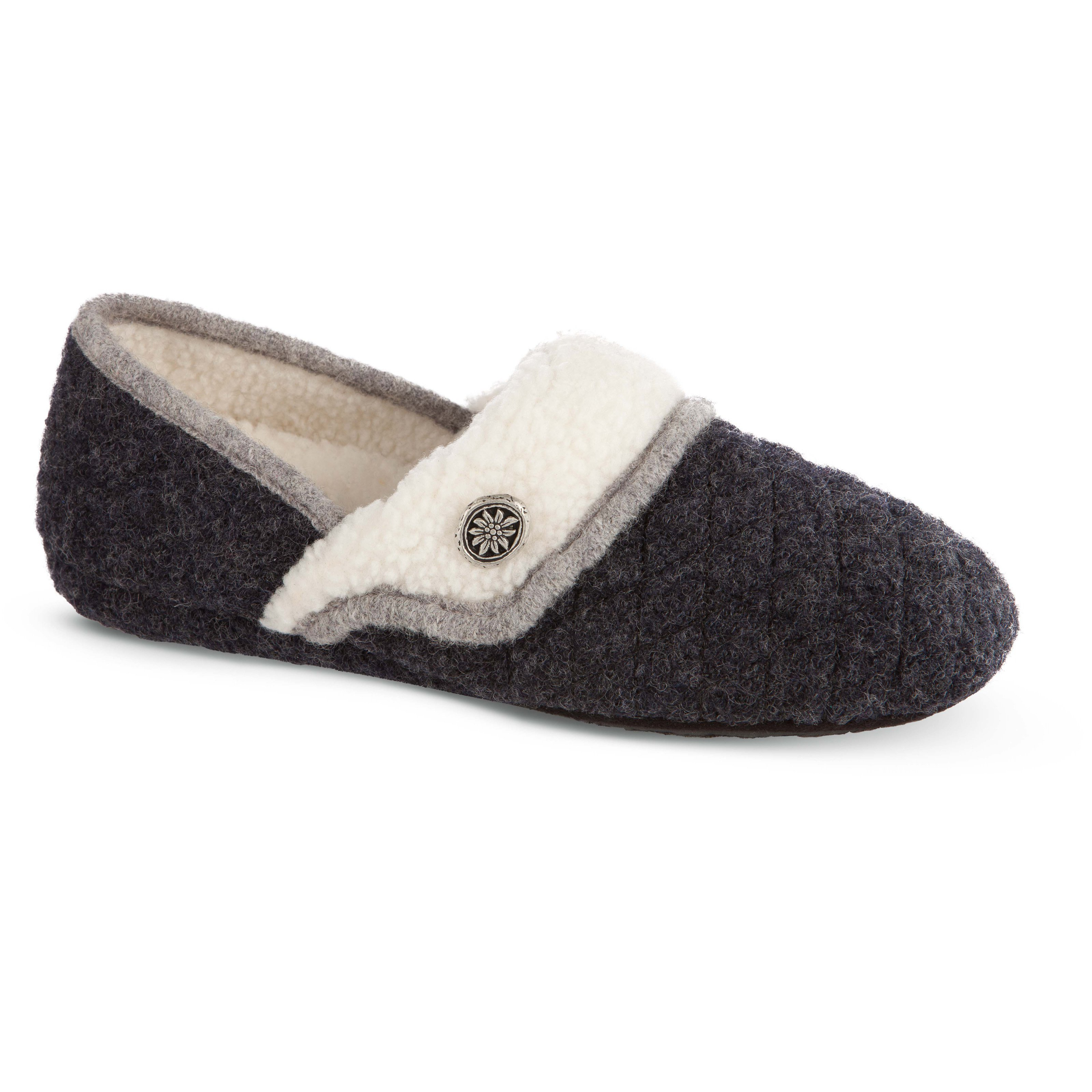 Best Acorn Womens Elsa Moc Slippers Charcoal At Hayneedle With Pictures