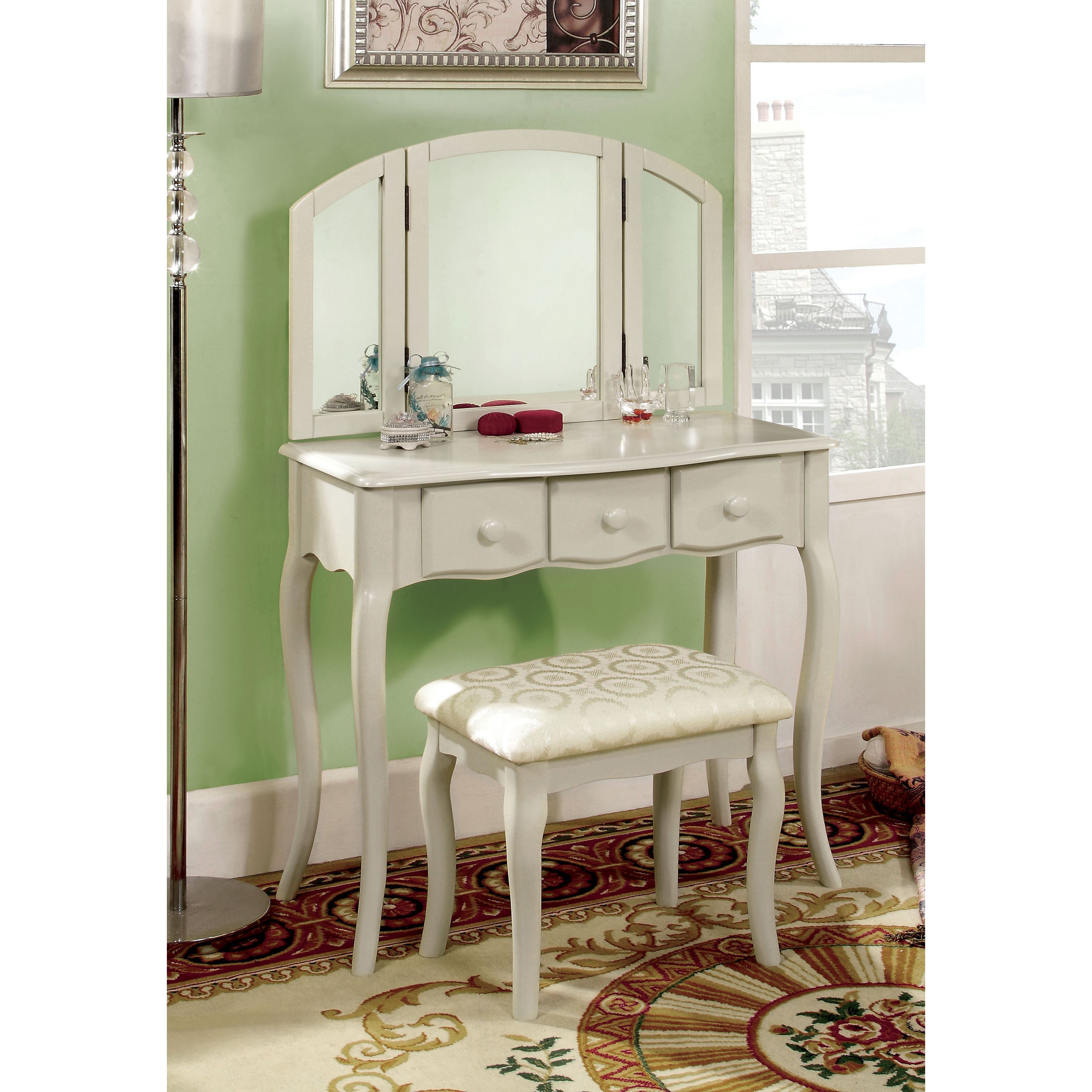Best Furniture Of America Lerraine Bedroom Vanity Set White With Pictures