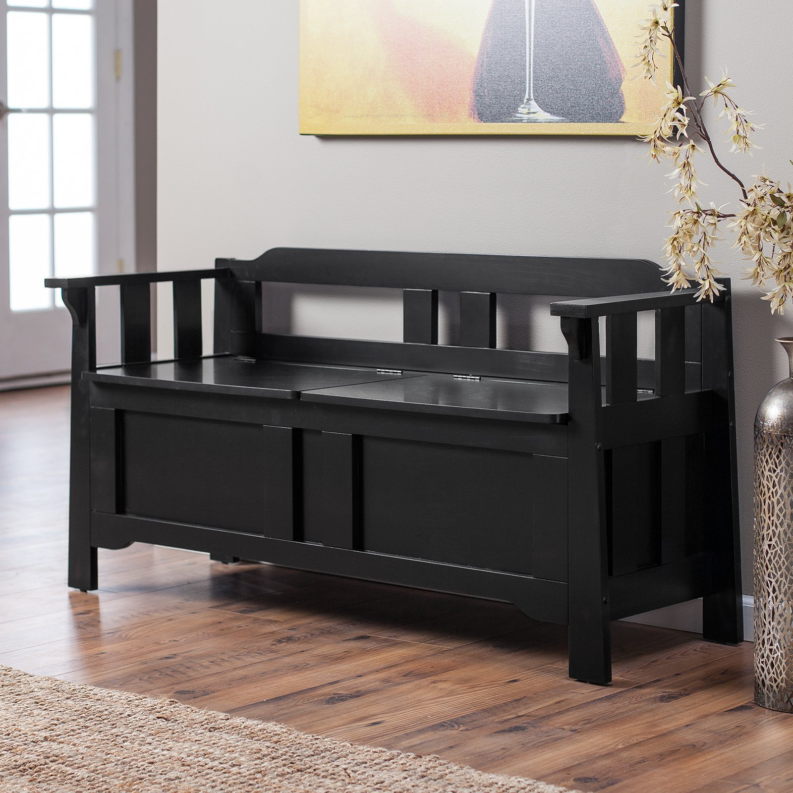 Best Parker Storage Bench Black Bedroom Benches At Hayneedle With Pictures