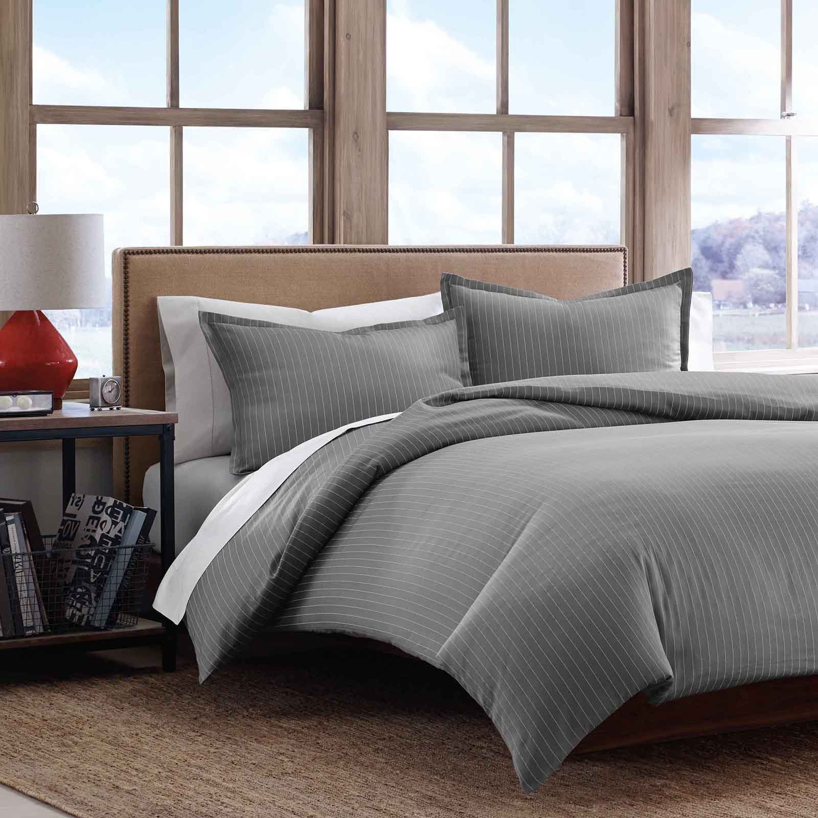 Best Eddie Bauer Pinstripe Cotton Sateen Duvet Cover Set Bedding And Bedding Sets At Hayneedle With Pictures