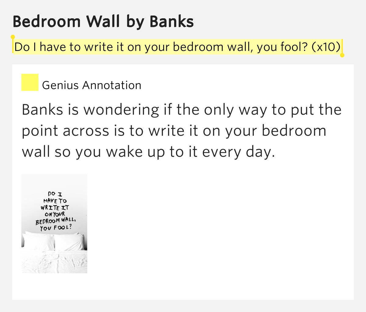 Best Do I Have To Write It On Your Bedroom Wall You Fool X10 – Bedroom Wall Lyrics Meaning With Pictures