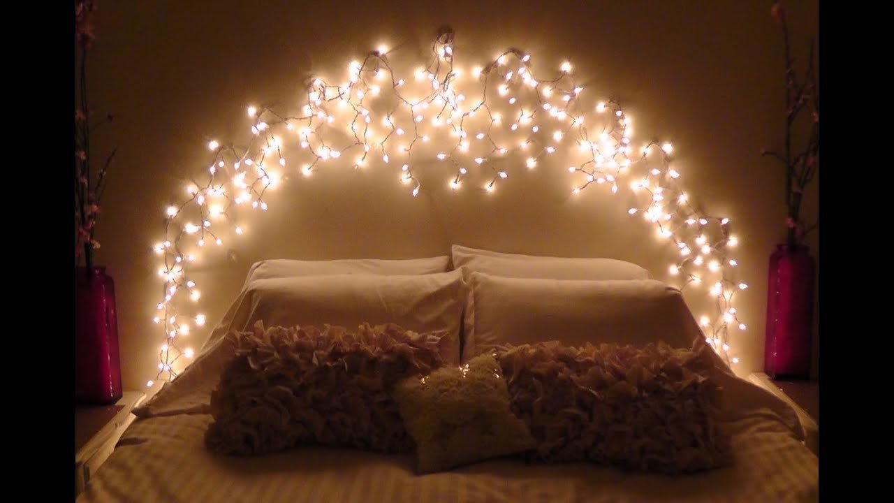 Best Diy Icicle Light Faux Headboard Youtube With Pictures