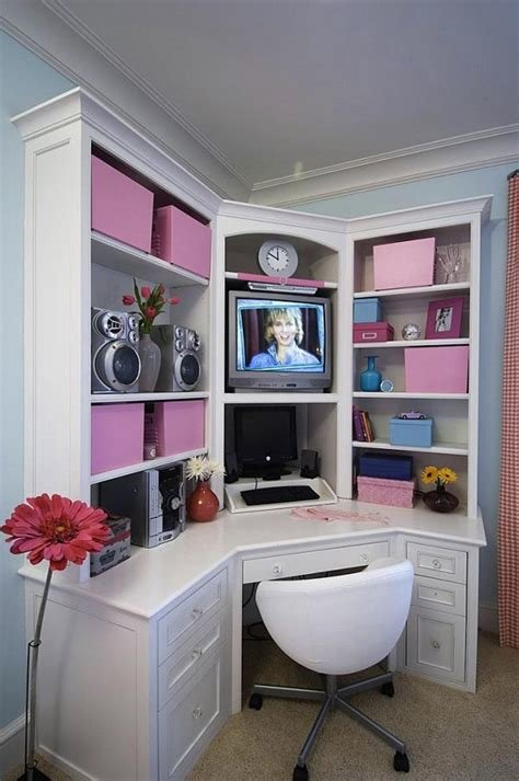 Best Bedroom Awesome Corner White Desk For Teenage Bedroom With Pictures