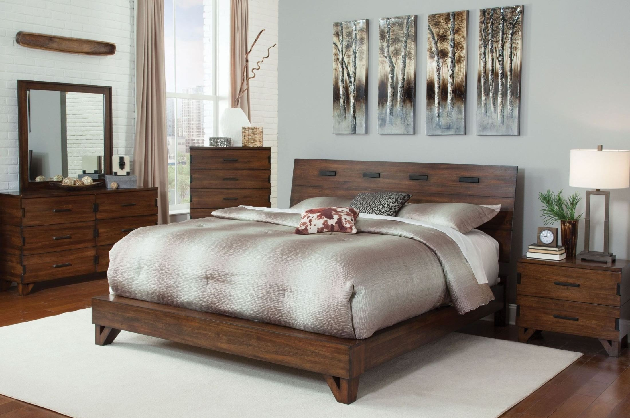 Best Yorkshire Dark Amber Platform Bedroom Set 204851Q With Pictures