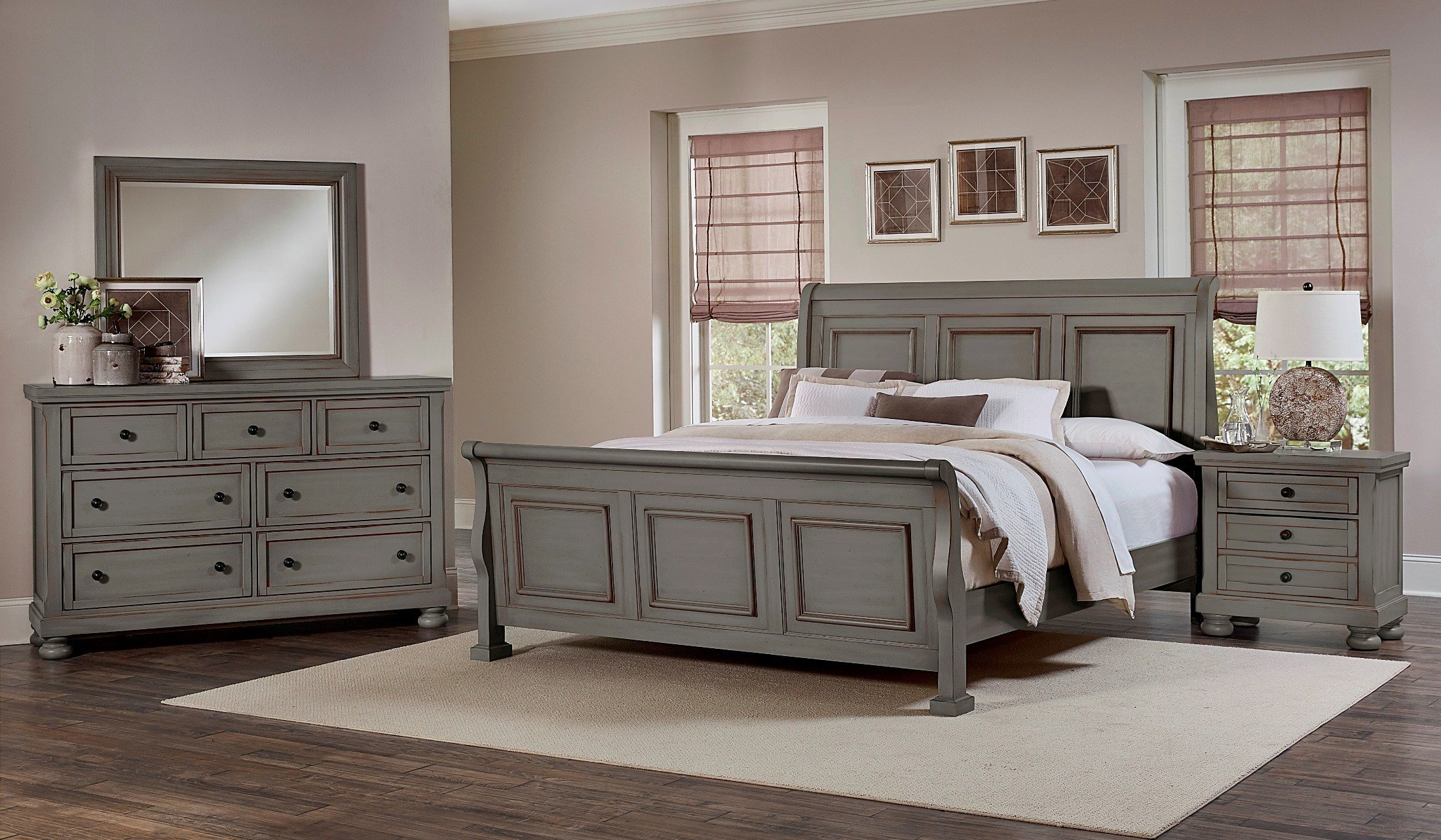 Best Reflections Antique Pewter Sleigh Bedroom Set 531 553 355 With Pictures