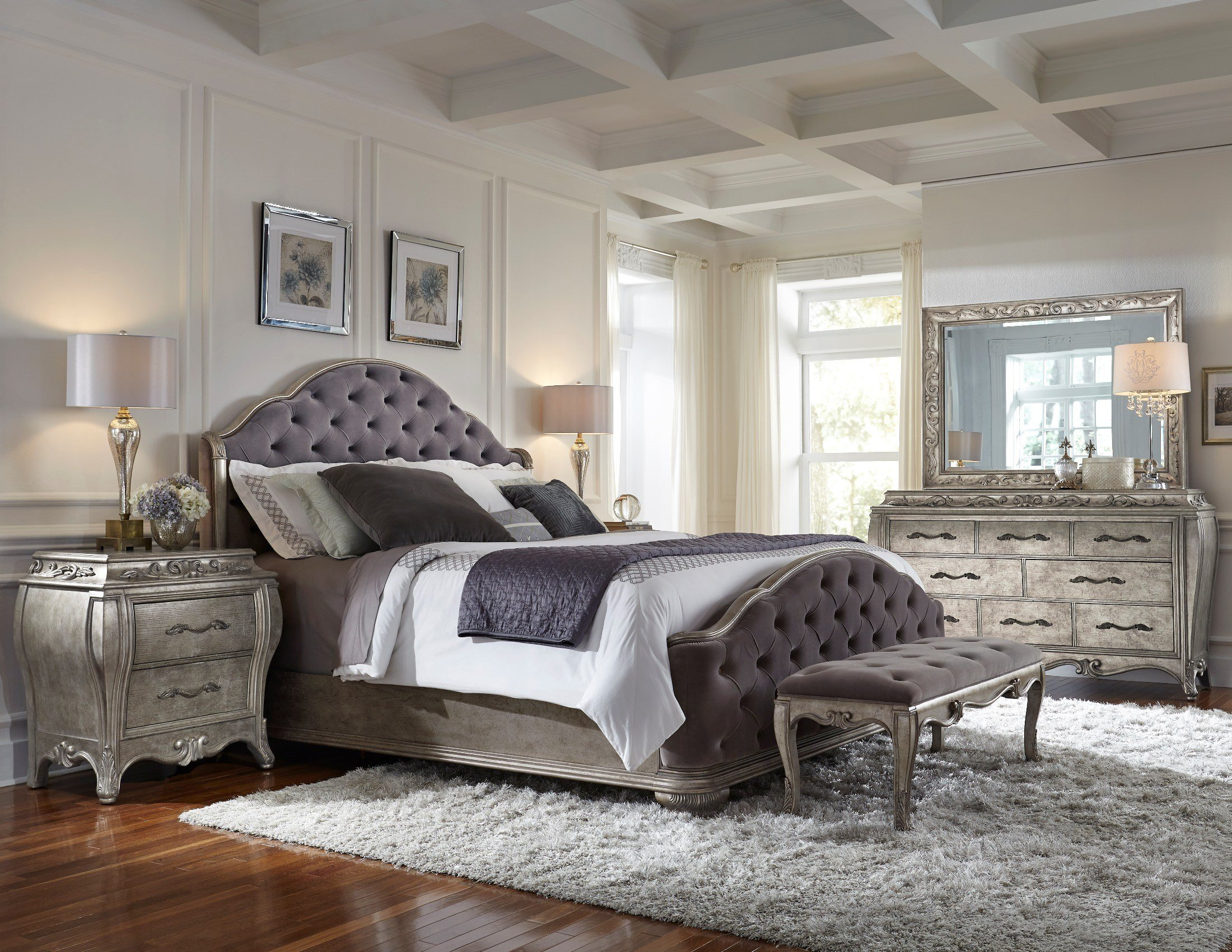 Best Rhianna Silver Patina Queen Upholstered Panel Bedroom Set With Pictures