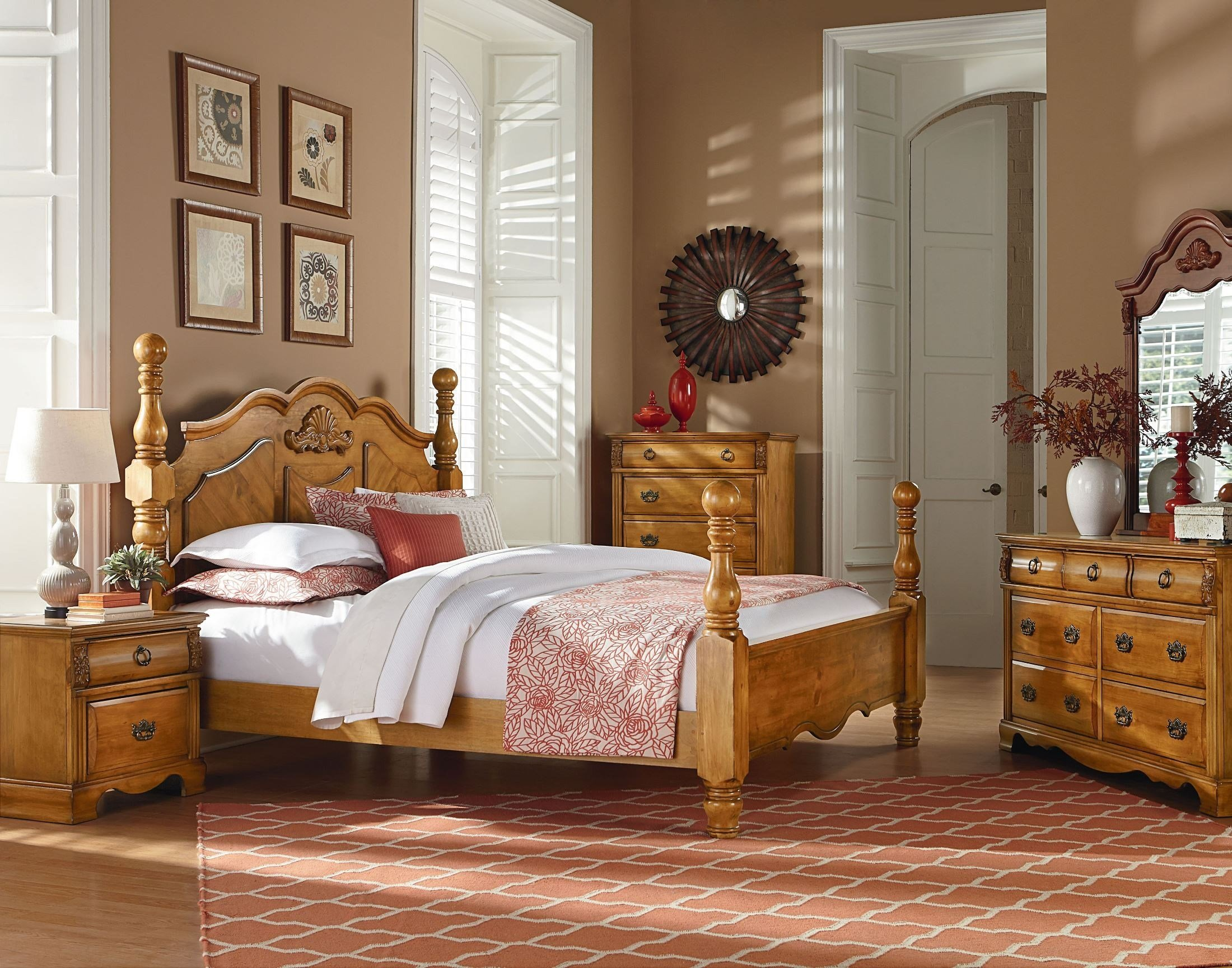 Best Georgetown Golden Honey Pine Poster Bedroom Set 83000 With Pictures