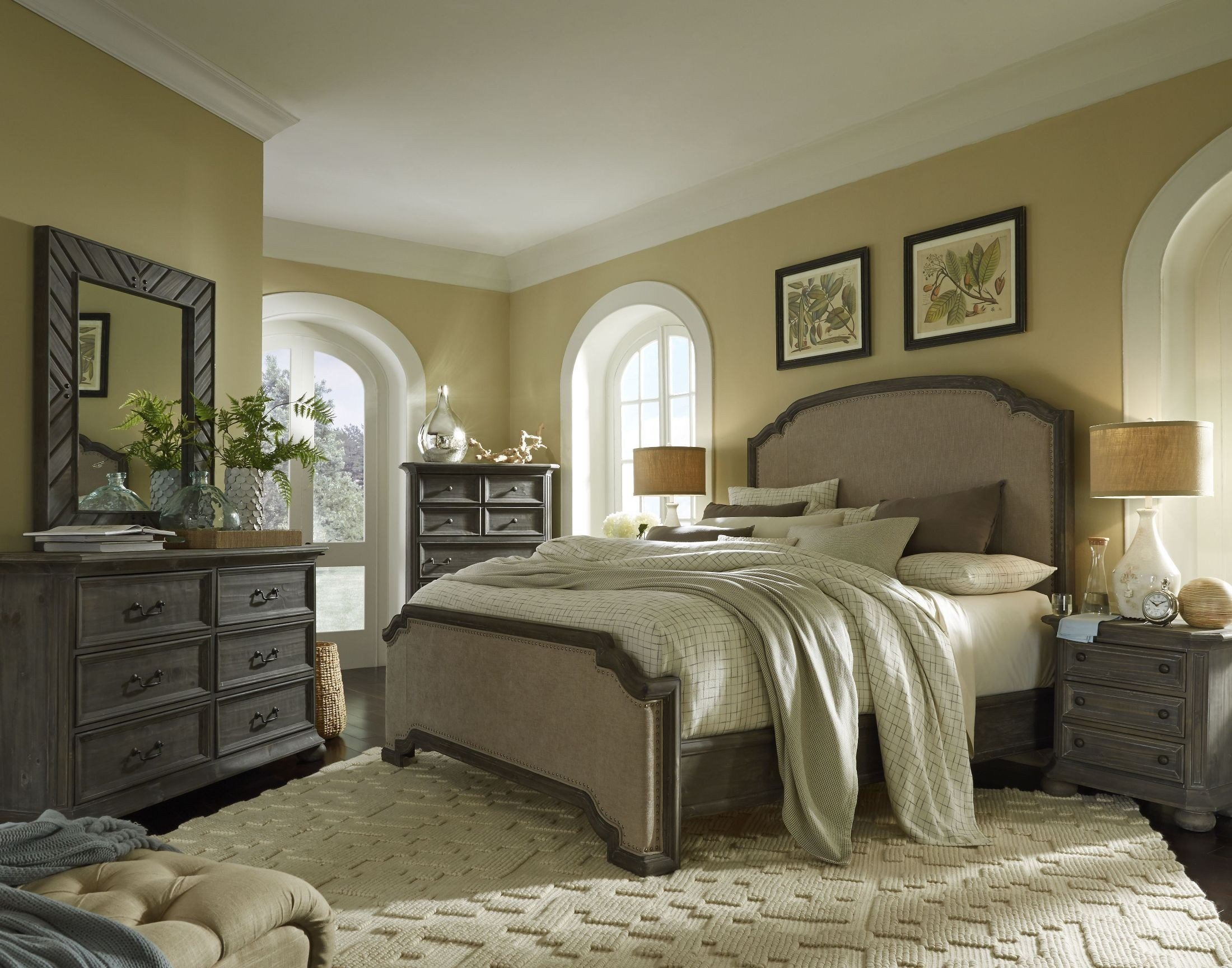 Best Cheswick Washed Linen Grey Upholstered Panel Bedroom Set With Pictures