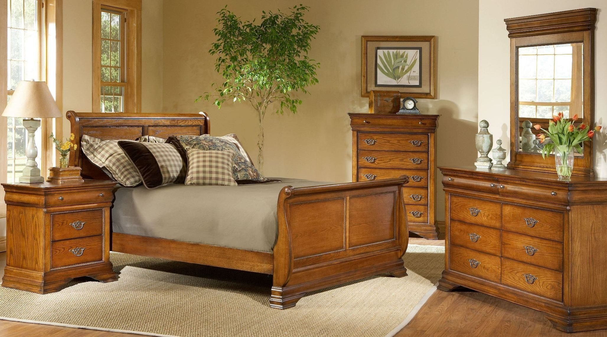 Best Shenandoah American Oak Sleigh Bedroom Set B4850 51H 51F With Pictures