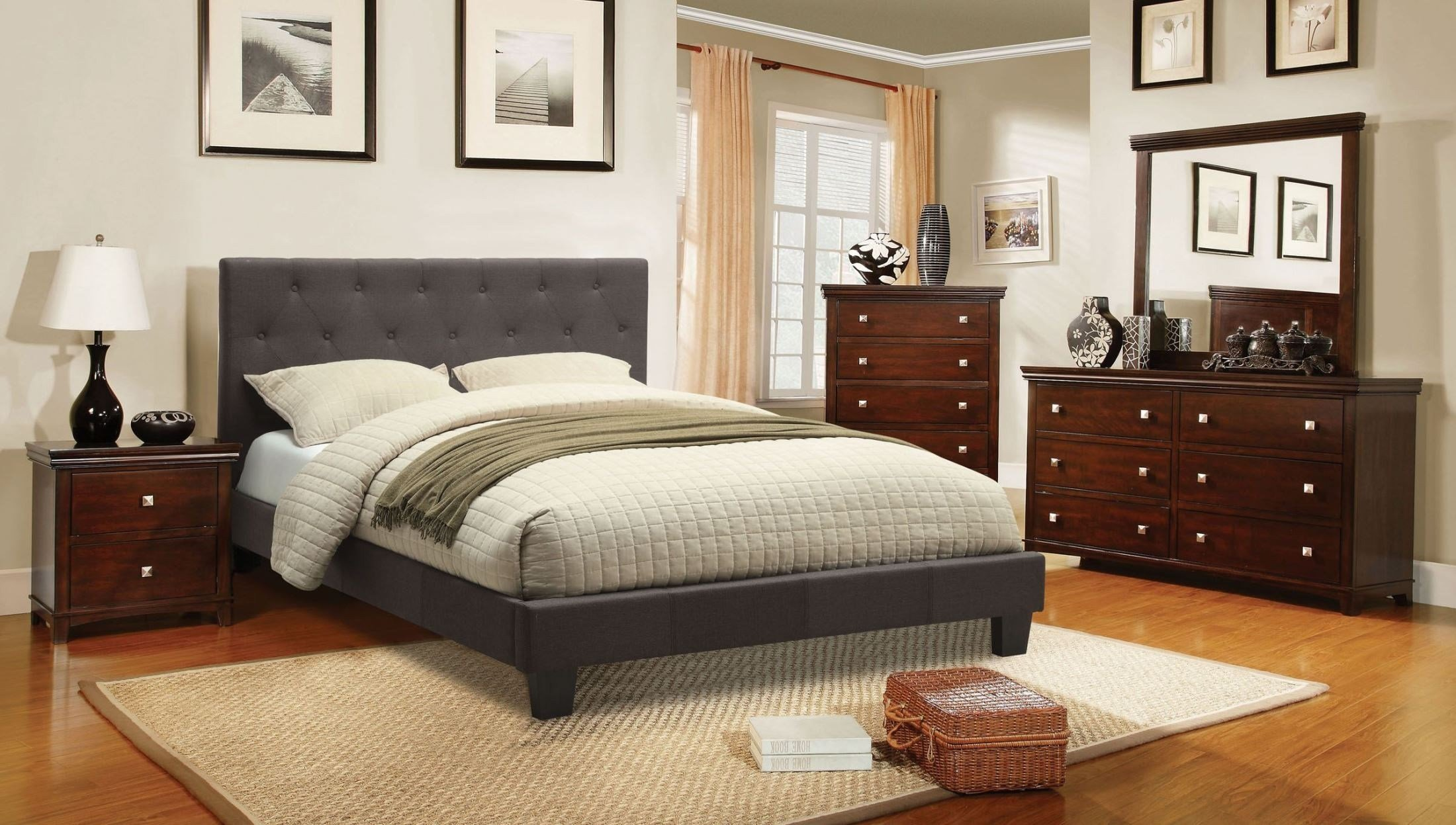 Best Leeroy Gray Youth Fabric Platform Bedroom Set Cm7200Lb T With Pictures
