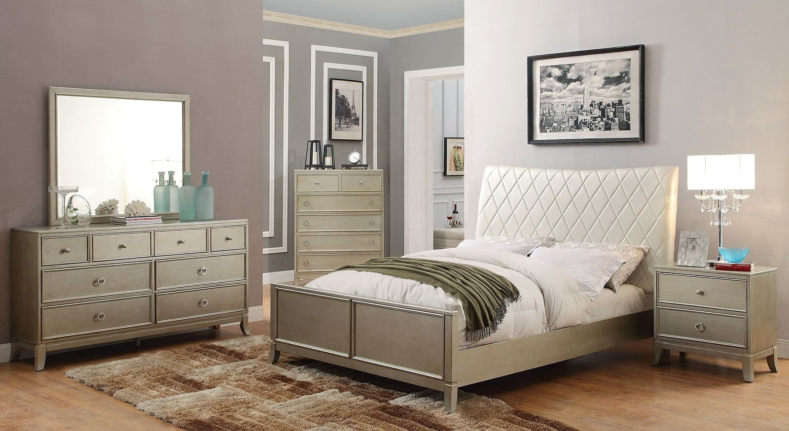 Best Enid Silver Upholstered Panel Bedroom Set Cm7430Q With Pictures