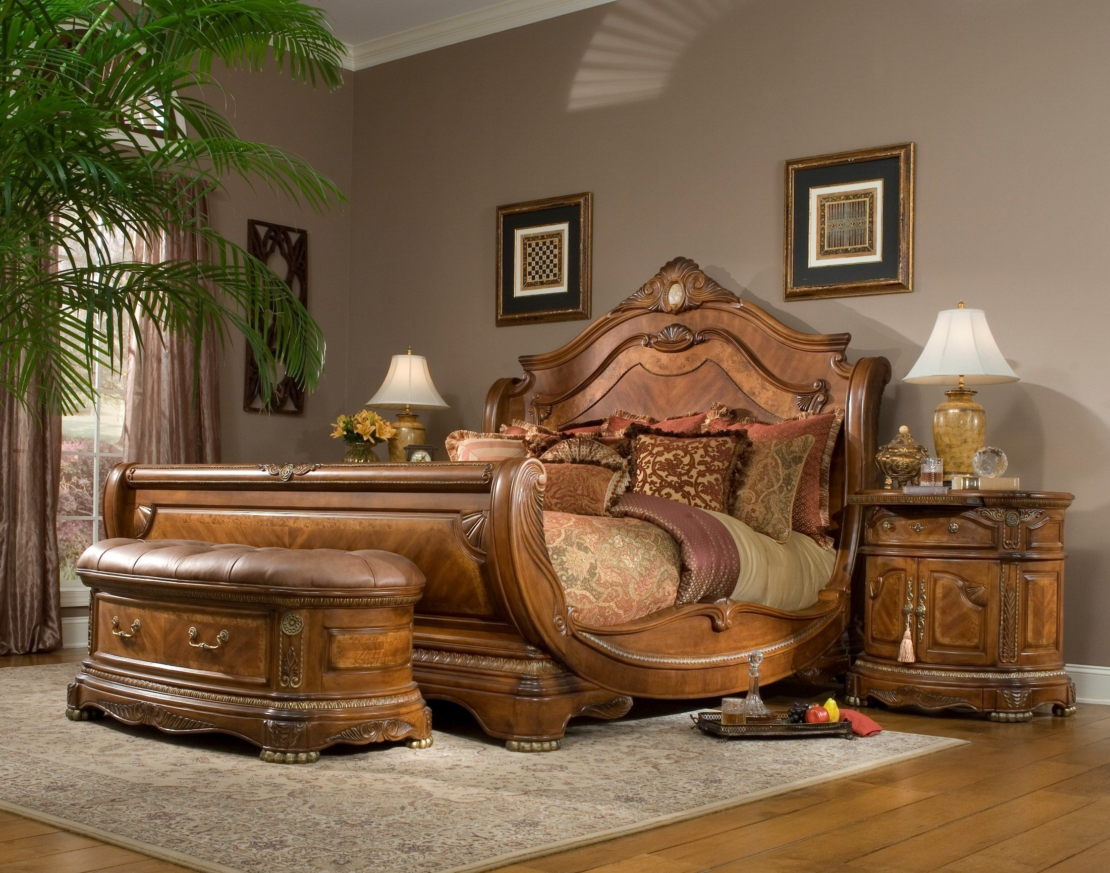 Best Cortina Sleigh Bedroom Set From Aico 65000 Coleman With Pictures
