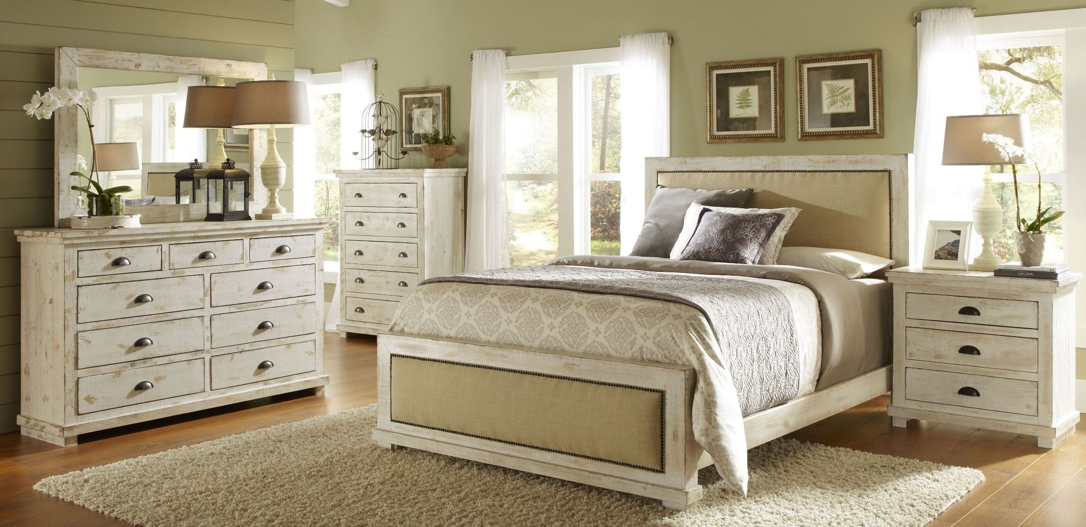 Best Willow Distressed White Upholstered Bedroom Set P610 34 With Pictures