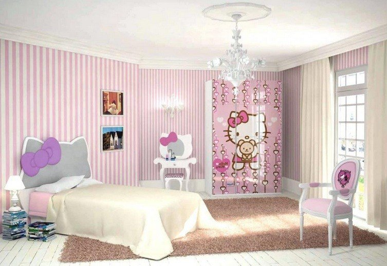 Best Pink And White Striped Walls Hello Kitty Bedroom For With Pictures