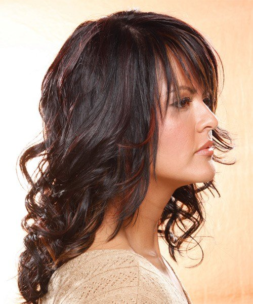 Free Long Wavy Casual Hairstyle With Layered Bangs Dark Plum Wallpaper