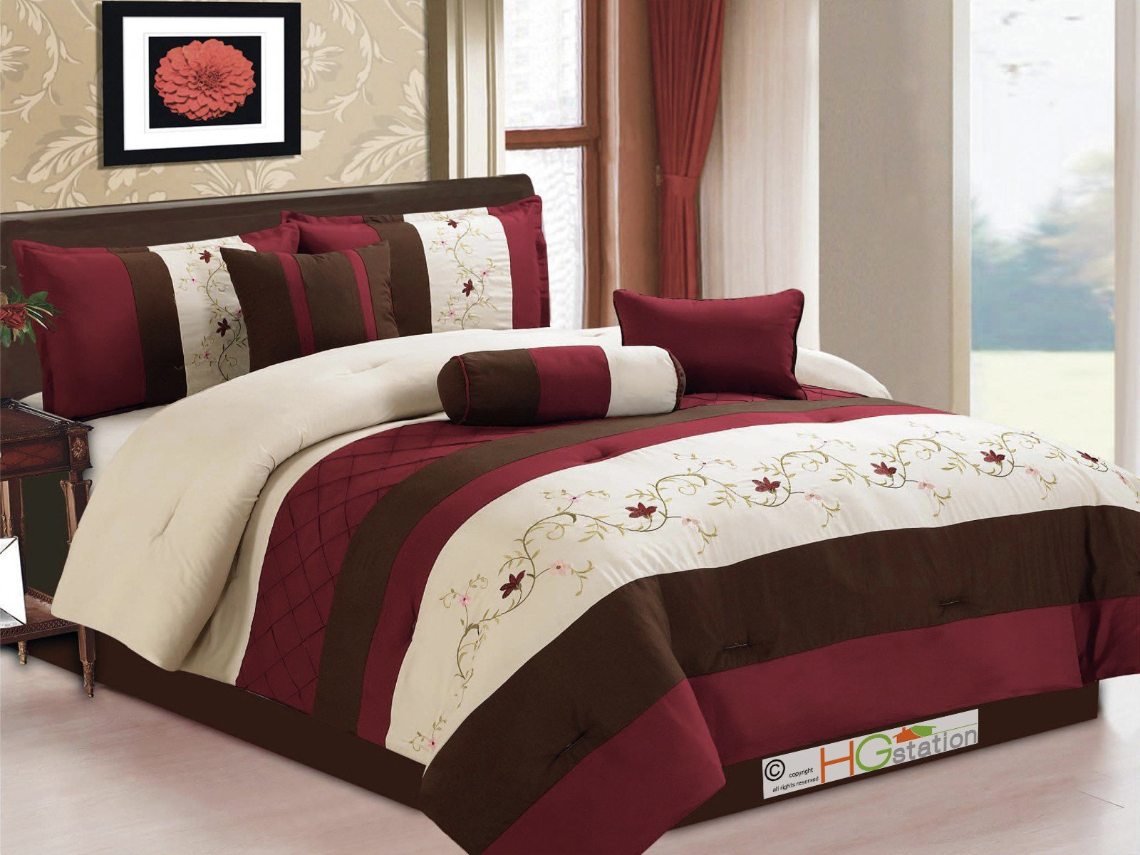 Best 7 Pc Floral Scroll Embroidery Pleated Comforter Set With Pictures