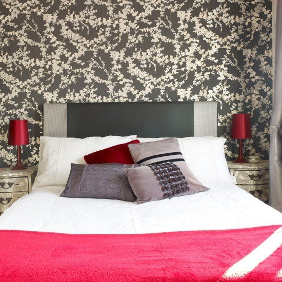 Best Grey Floral And Crimson Bedroom Contemporary Country With Pictures