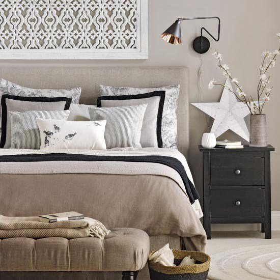 Best Neutral Bedroom With Black Accents Traditional Bedroom With Pictures