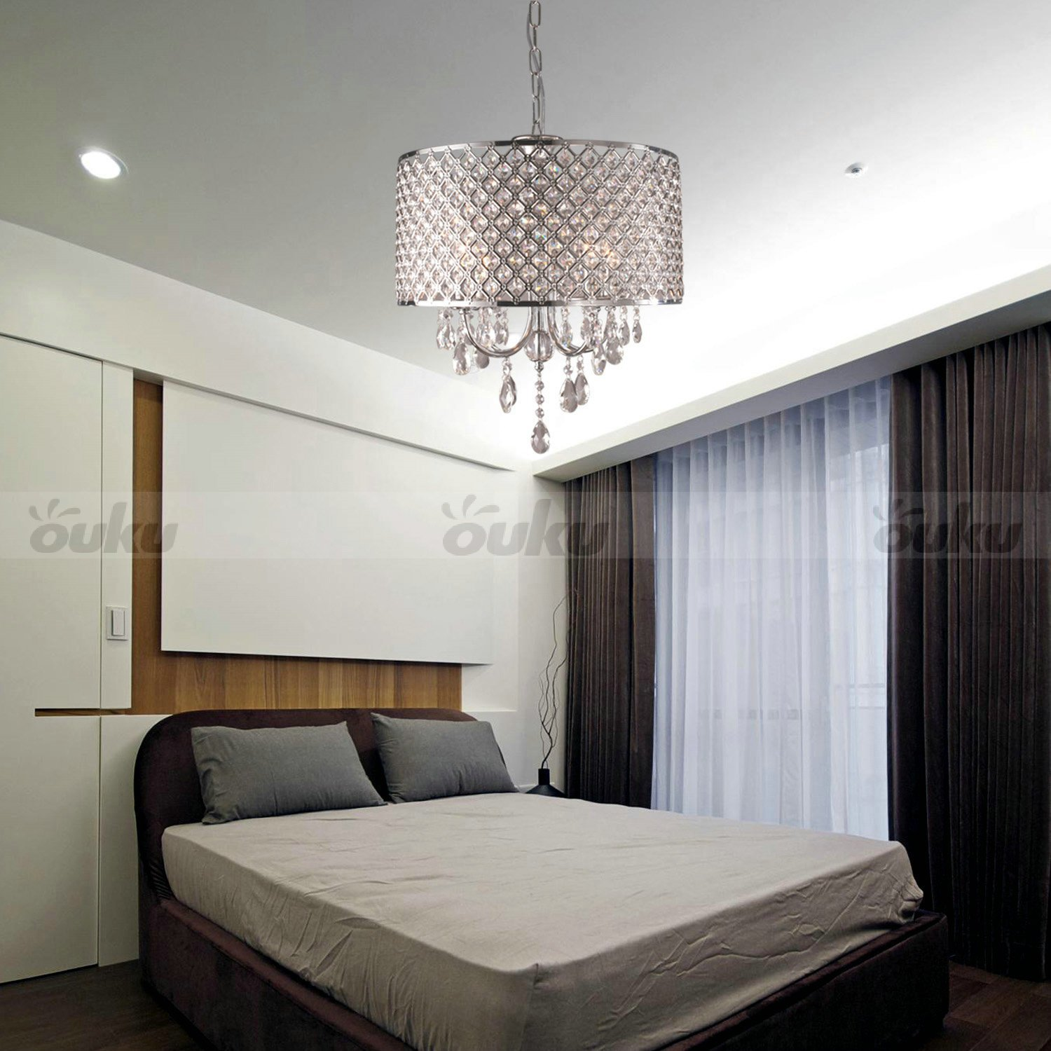 Best Drum Chandelier Crystal Modern 4 Lights Ceiling Light With Pictures