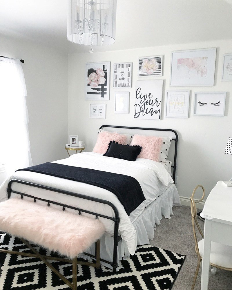 Best Black And Blush Pink Girls Room Decor Black And White Teenage Girls Room With Pictures
